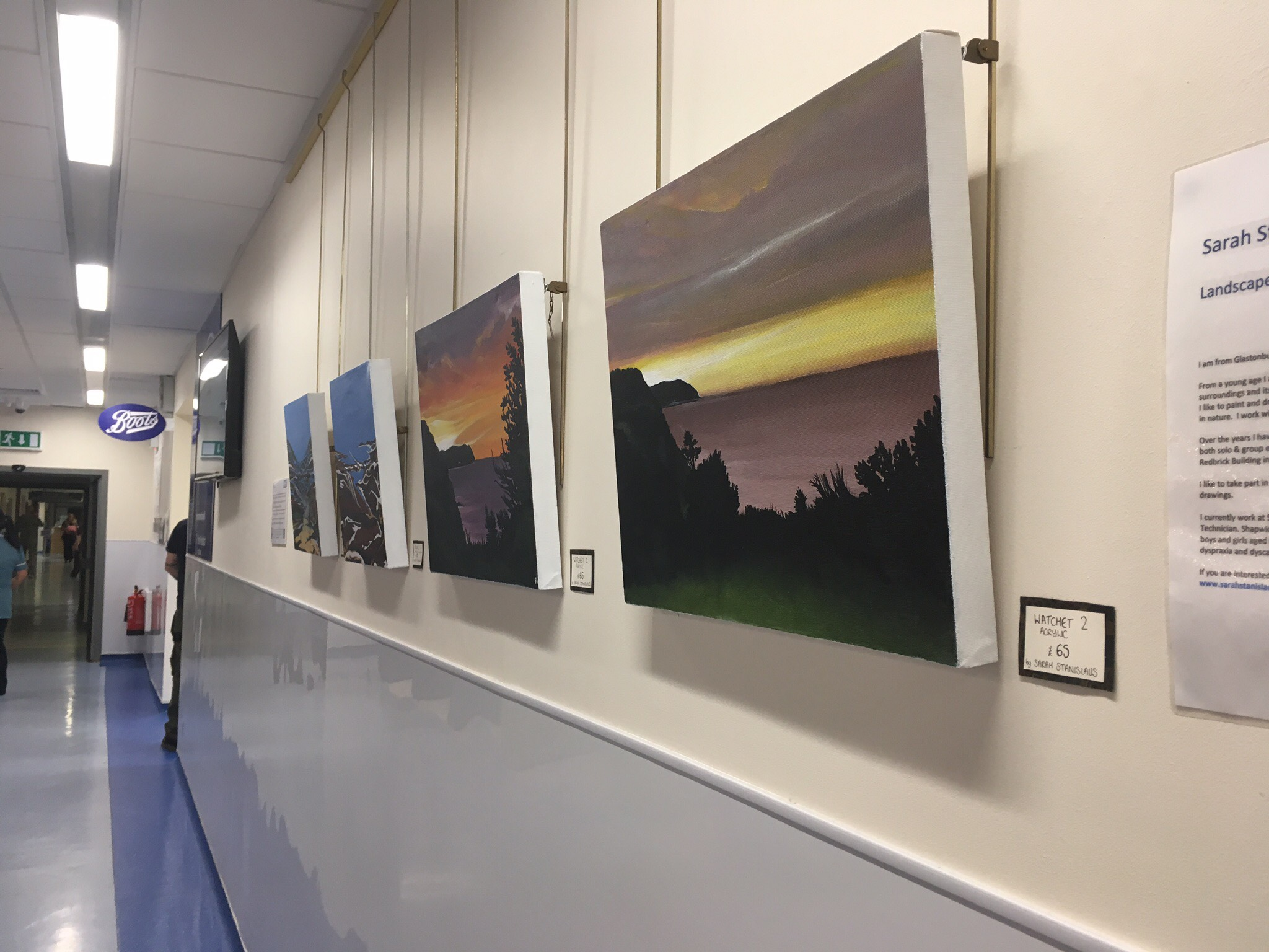 Summer Exhibition Of Paintings Line The Walls Outpatients Gallery At Yeovil Hospital